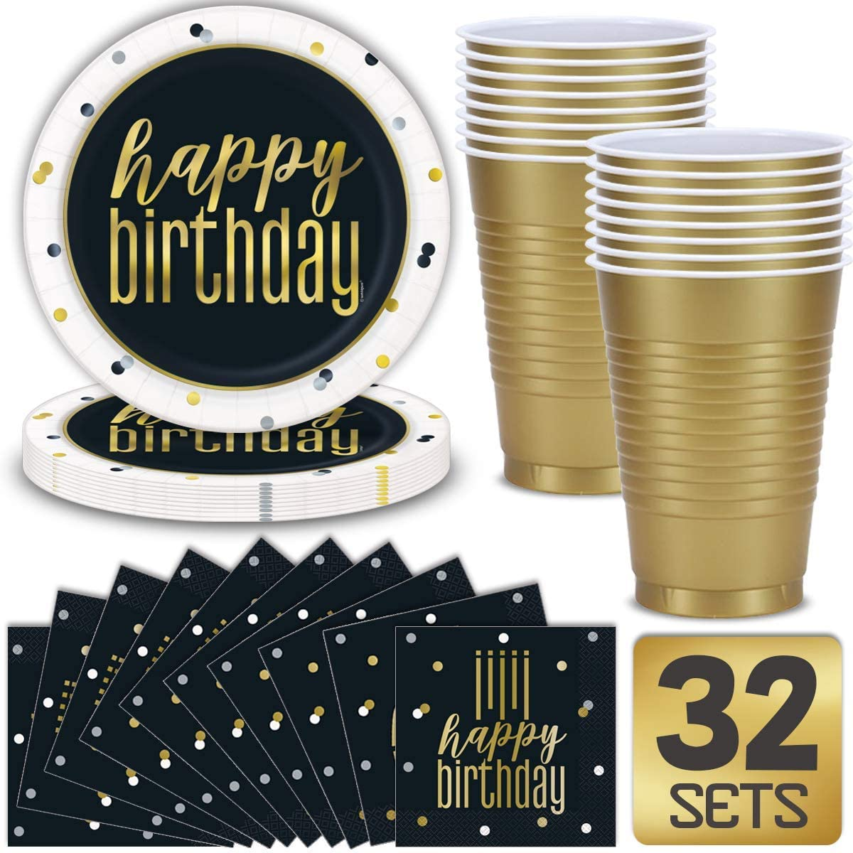 Set for 32 Birthday Party Supplies in Metallic Gold, Black and White Theme Includes: Paper Plates, Luncheon Napkins, 16 oz Cups, Classy and Stylish Design