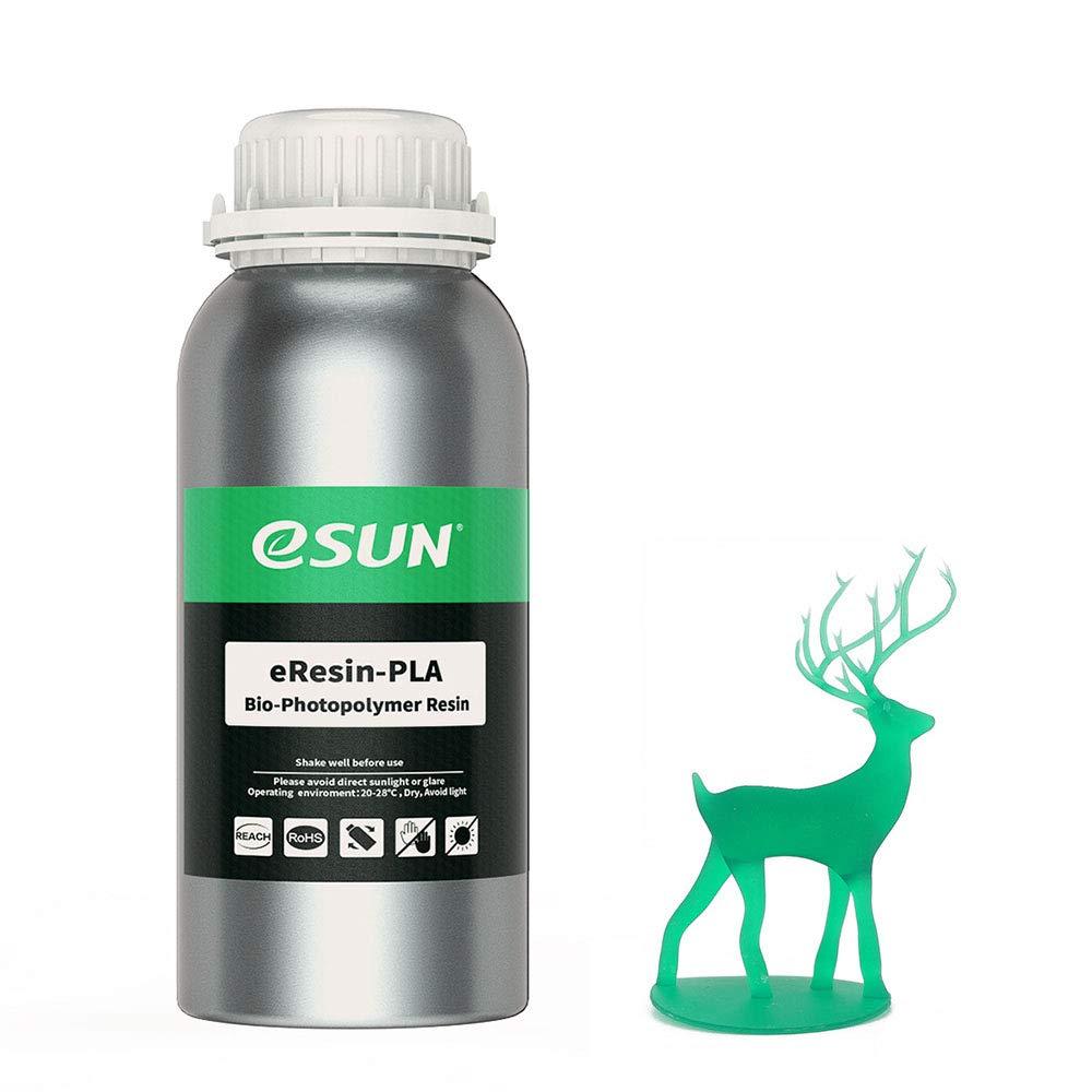 eSUN 405nm LCD 3D Printer Rapid Resin UV Curing Resin PLA Plant-Based Rapid Resin Biodegradable Resin Photopolymer Resin for Photon UV Curing LCD 3D Printer, 500g Green