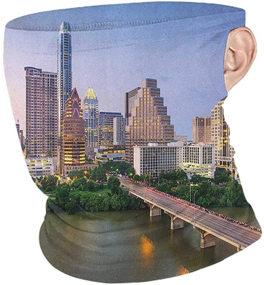 Neck Gaiters Summer Modern Austin Texas American City Bridge Over The Lake Skyscrapers USA Downtown Picture,Unisex Seamless Rave Bandana Multicolor 10 x 12 Inch
