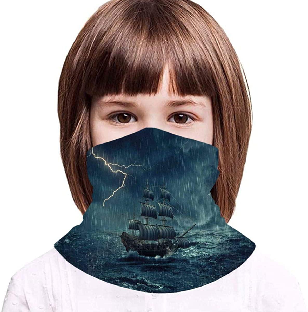 Stormy and Rainy Weather Waves Vintage Neck Gaiter Face Mask Bandana Dust Wind Sun UV Balaclava for Teen Boy Girl Outdoors