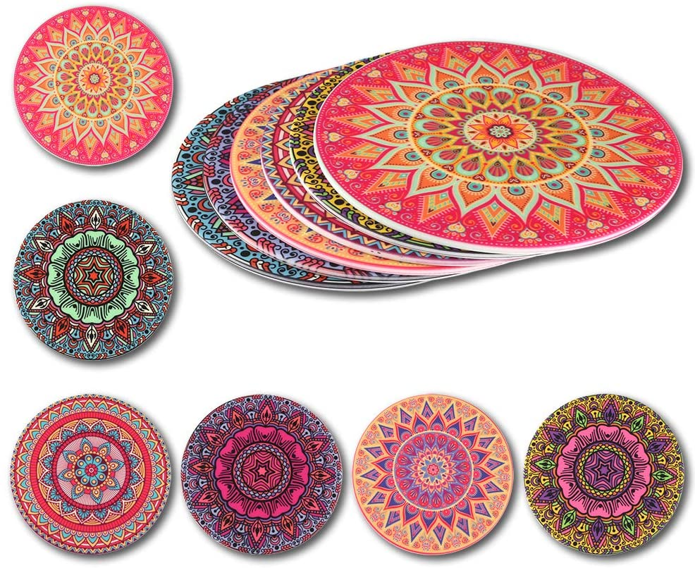 Coasters for Drinks | Silicone Drink Coaster Set of 6 - DATYSON Decorative Mandala Cup Mats No Holder as Home Decor, Large 5 Inch Fit Big Mugs and Beer Glasses, House Warming Gifts for Women Men