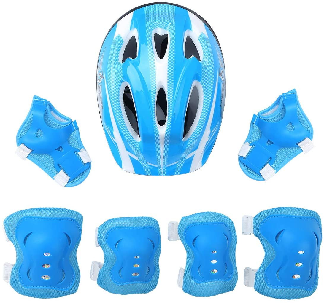 YiZYiF 7Pcs Kids Protective Gear Outfit Safety Helmet with Knee Wrist Elbow Guard Pad for Scooter Skateboard Roller
