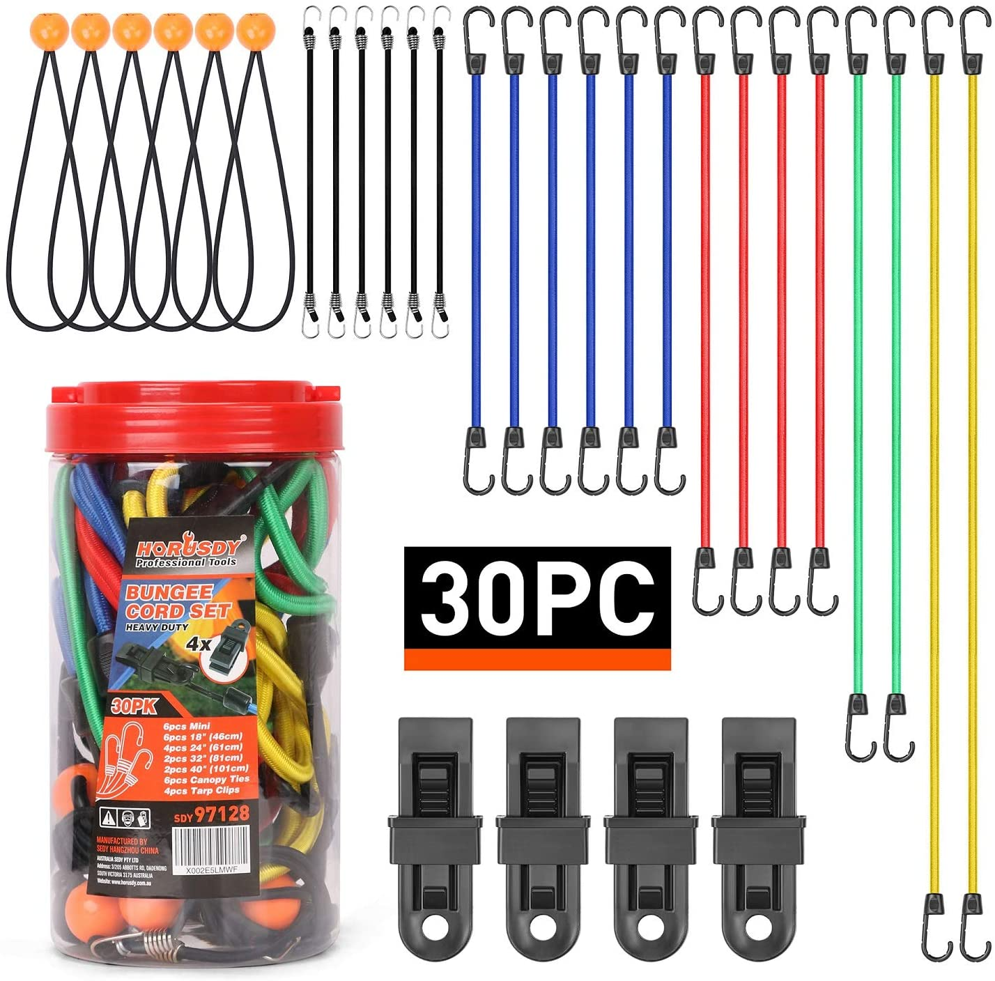 """HORUSDY 30-Piece Premium Bungee Cords Assortment Jar, Includes 10"""", 18"""", 24"""", 32"""", 40"""" Bungee Cords, 8""""Canopy/Tarp Ball Ties and Crocodile Mouth Tarp Clips"""