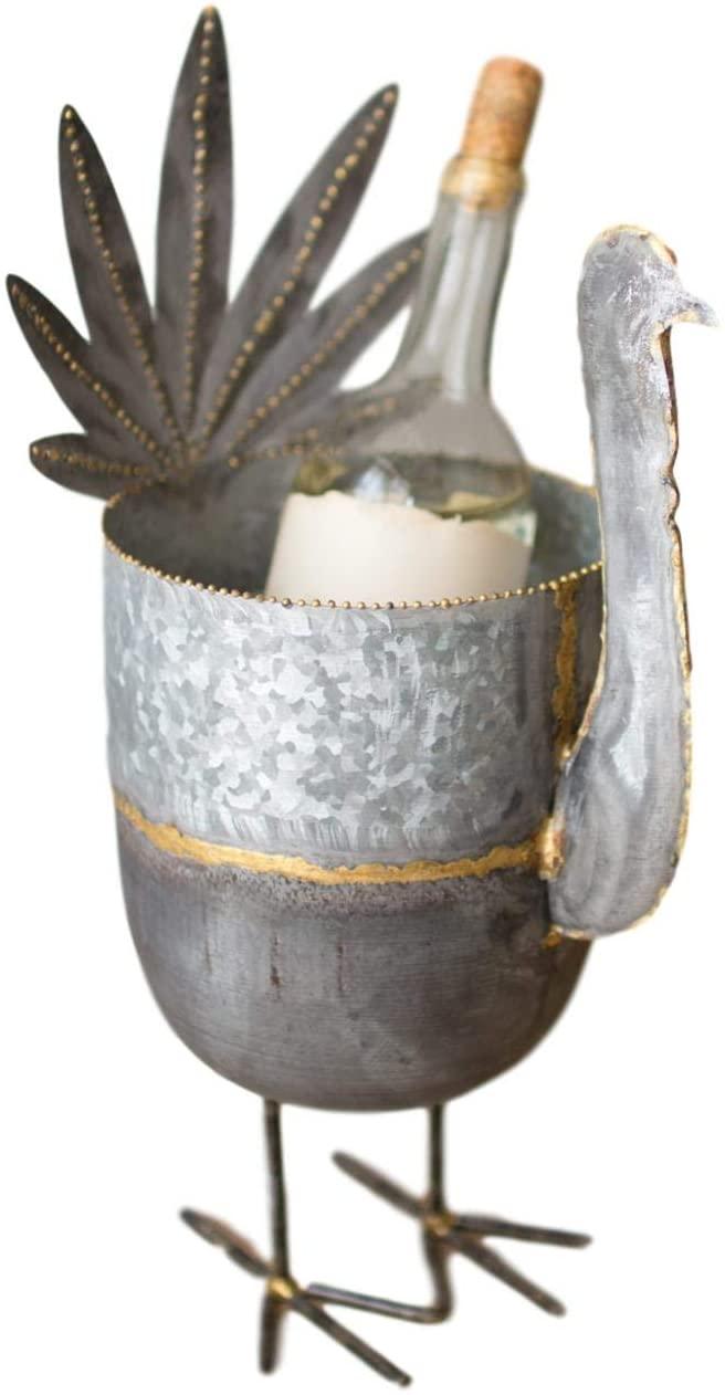 MY SWANKY HOME Tabletop Metal Galvanized Turkey Wine Bottle Chiller Fall Decor Rustic Bird