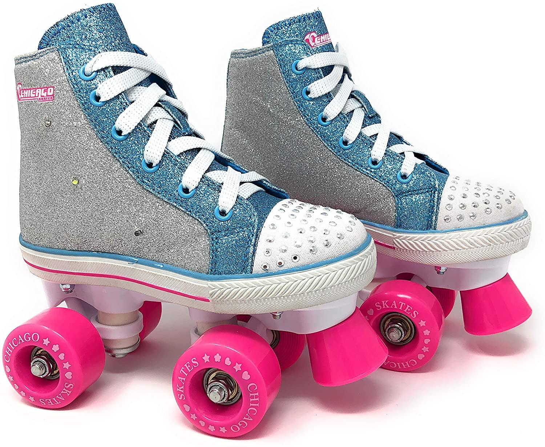 Chicago Skates Girls Fashion Quad Skates with Flashing Lights - Glitter Silver/Teal/Pink - Size J11
