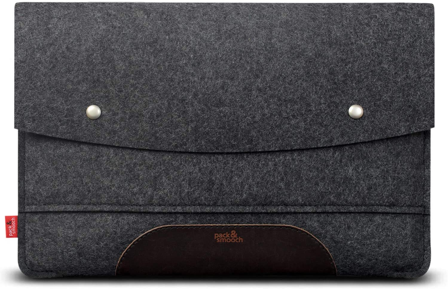 Pack & Smooch MacBook Pro 16 Case - 100% Merino Wool Felt and Pure Vegetable Tanned Leather Made in Germany - Dark Gray/Dark Brown