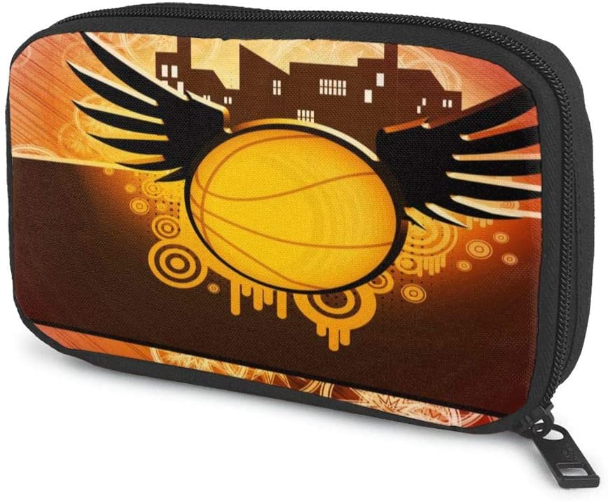 Electronic Organizer Cool Basketball with Wings Travel Universal Cable Organizer Electronics Accessories Cases Gadgets Bag Cord Storage Bag for Cable, Charger, Phone, USB, SD Card