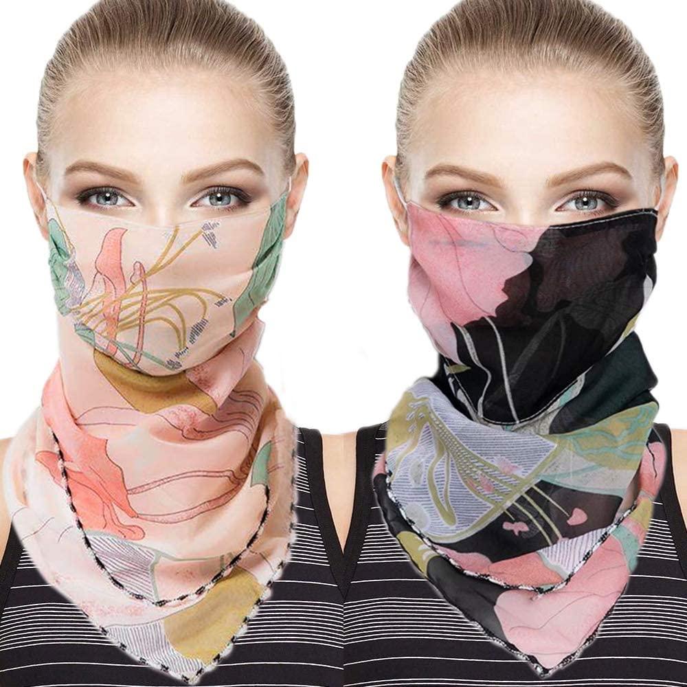 2PCS Women Sun Mask Chiffon Neck Gaiter Face Scarf Wrap, for Outdoors Fishing UV Protection Multicolored Balaclava Bandana