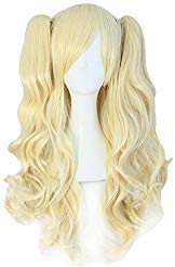 TSNOMORE Long Curly Lolita Cosplay Wig + 2 Clip on Pigtail Ponytail wig (Golden Blond)