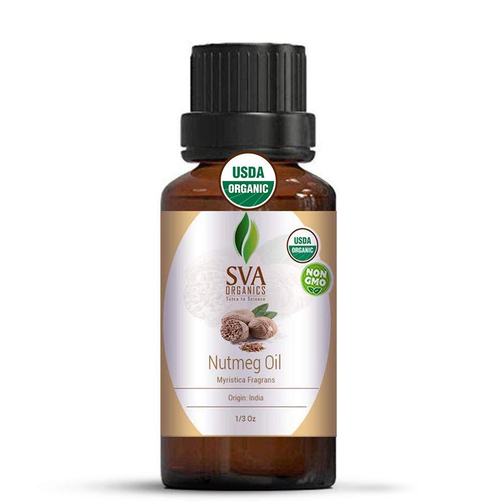 SVA Organics Nutmeg Essential Oil 1/3 Oz Organic Premium Therapeutic Grade 100% Pure Natural Undiluted USDA Certified Oil for Skin, Aromatherapy & Hair Care