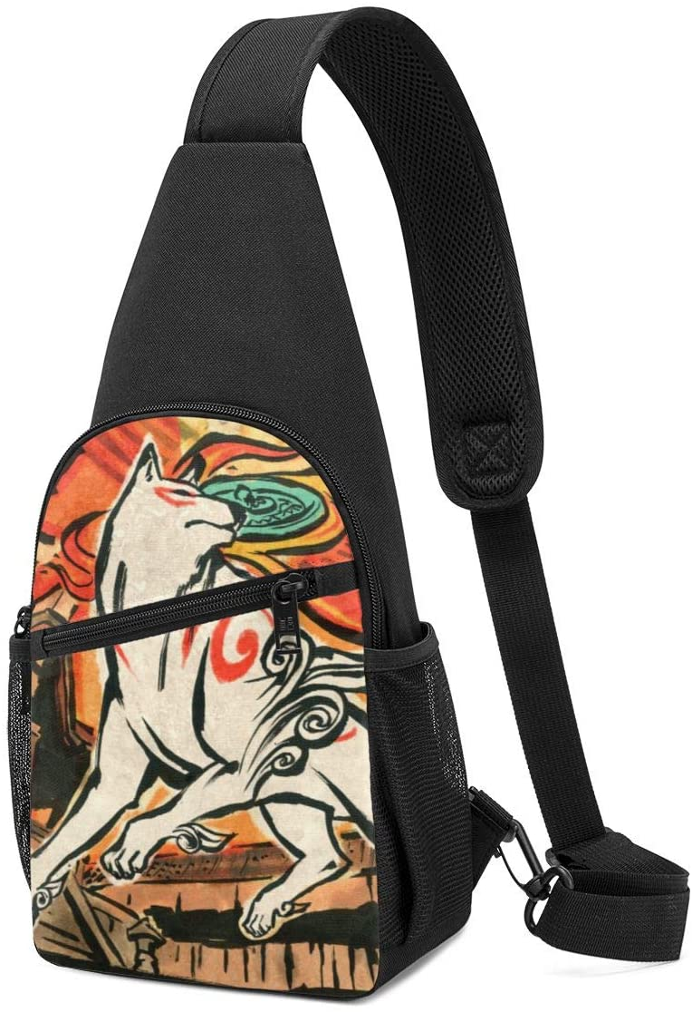 JIGFfkhal Japanese Anime Fashion Chest Bag Okami Fashion Casual Chest Bag, Fashion Leisure Travel Adjustable Crossbody Bag