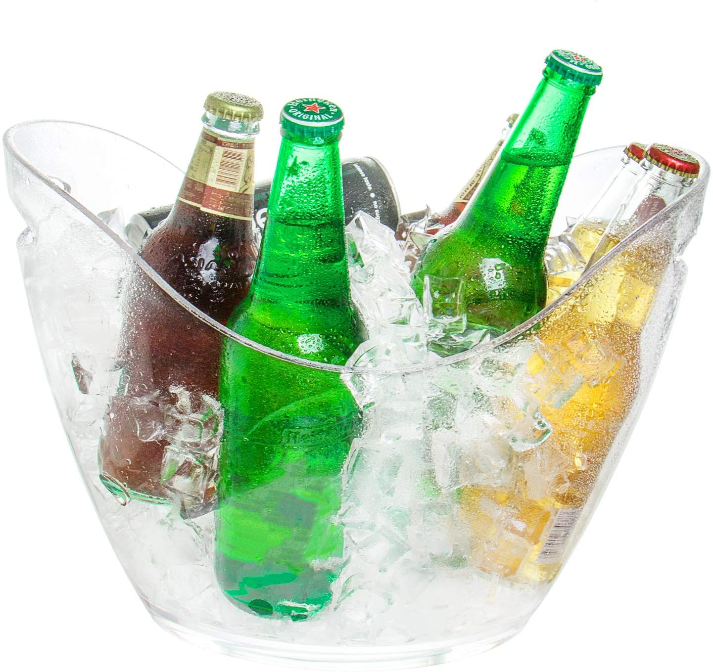 Yoken Ice Bucket, 8 Liter Ice Tub, Plastic Clear Beverage Tub for Party Drinks, Champagne, Wine or Beer Bottles, Food Grade