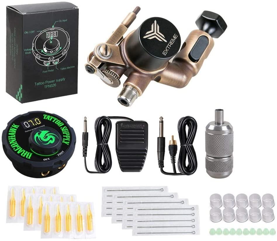 ZWEN Tattoo Kit Brass Frame CNC Rotary Machine Power Supply Color