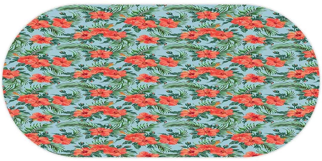 AngelSept-LJH Luau Elasticized Table Cover,Exotic Summer Bouquet Design with Hibiscus Flourish Aloha Botanical,Oval Table Overlays for Wedding/Party fits up to 48