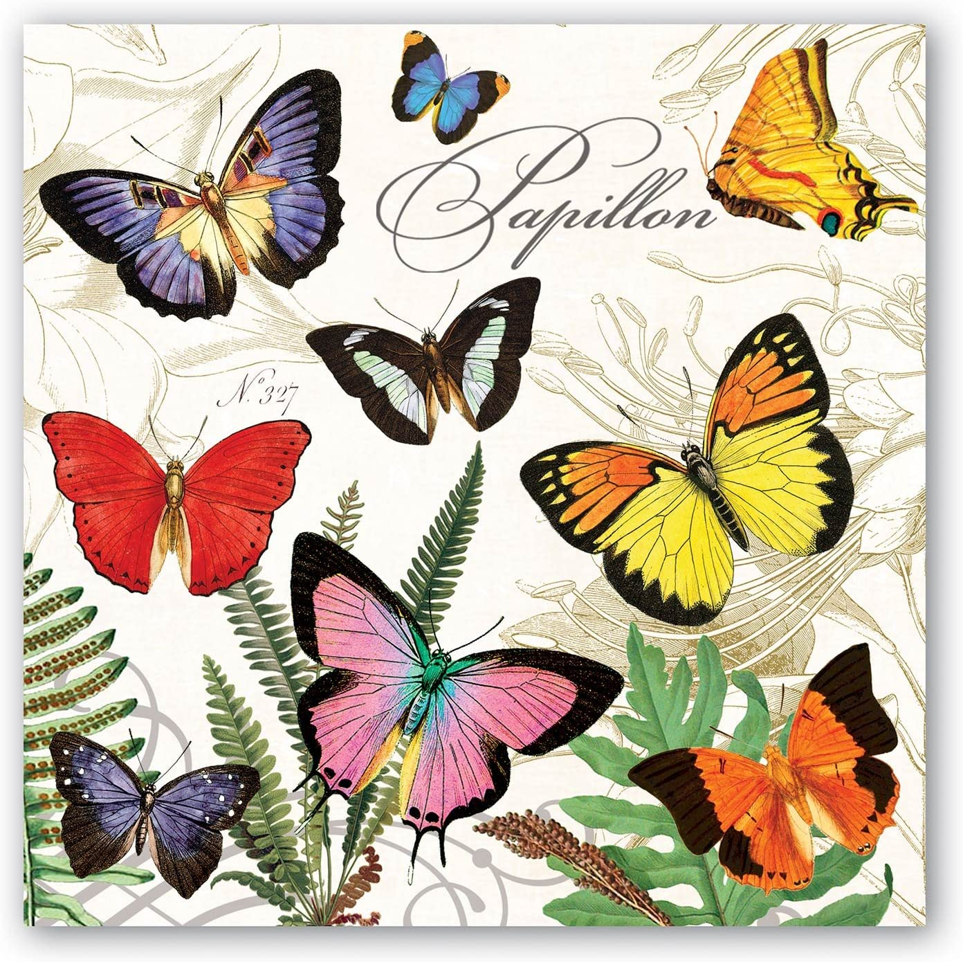 Michel Design Works 20-Count 3-Ply Paper Luncheon Napkins, Papillon