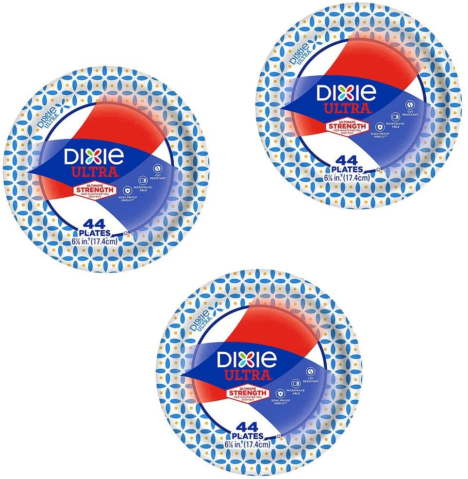 Dixie Ultra Heavy Duty Disposable Appetizer and Dessert Paper Plates, Small Plate 6 7/8