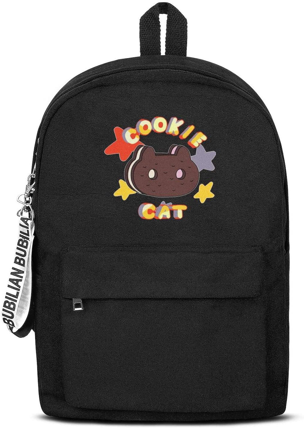 Mens Women's Steven-Universe-Cookie-Cat-star- Backpack Printed Outdoor Bags Black