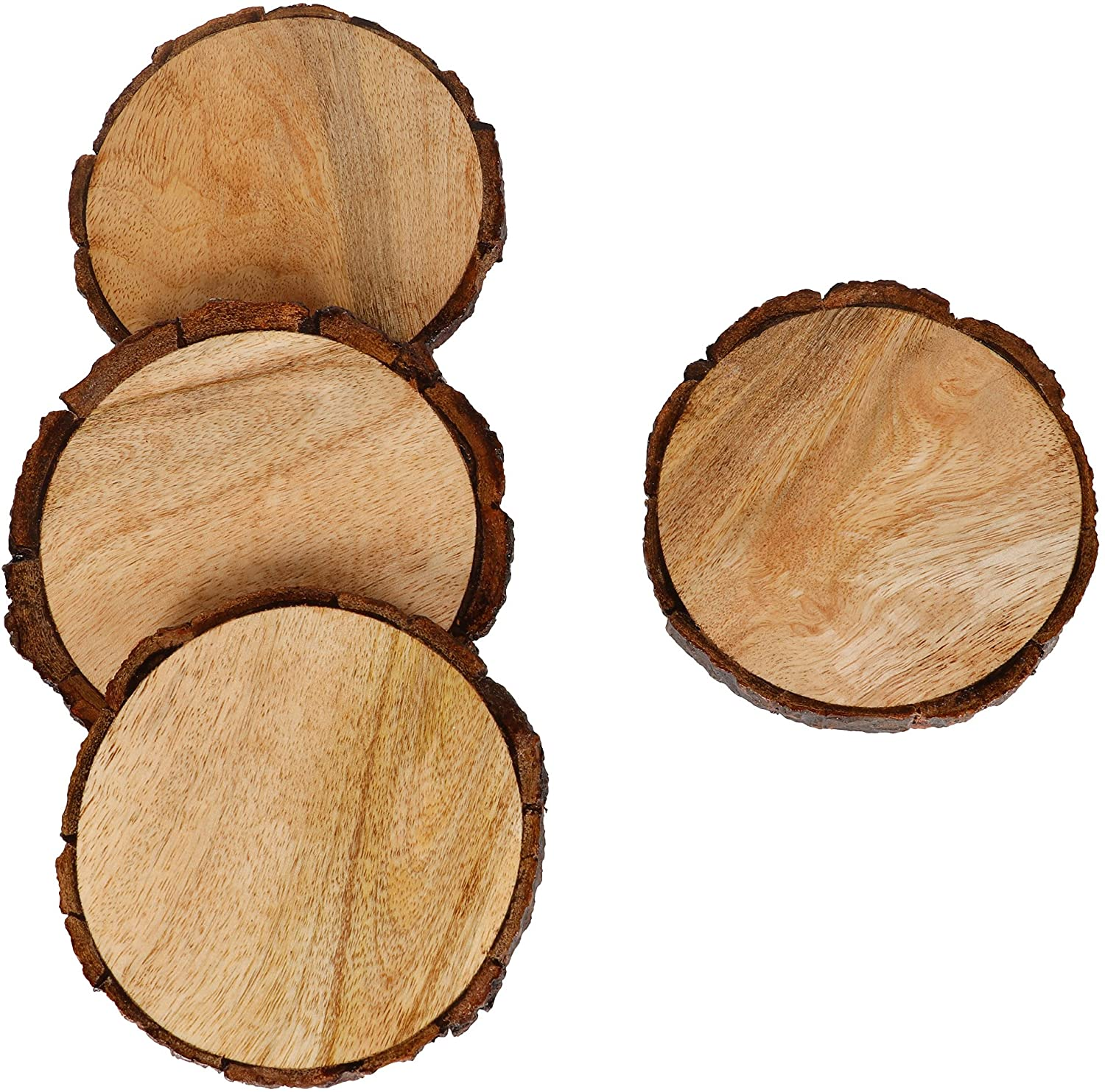GoCraft Natural Wooden Coasters with Tree Bark | Mango Wood Coasters for Your Drinks, Beverages & Wine/Bar Glasses (Coasters Set of 4)