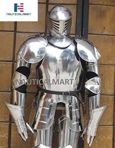 NauticalMart Medieval Knight Full Suit of Armor-Custom Size Silver