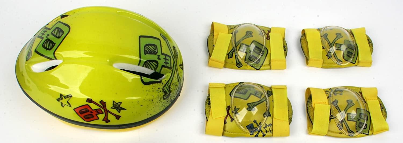 Taotao Child Helmet and Pads Combo Pack - Yellow Skull Design - CPSC Standard