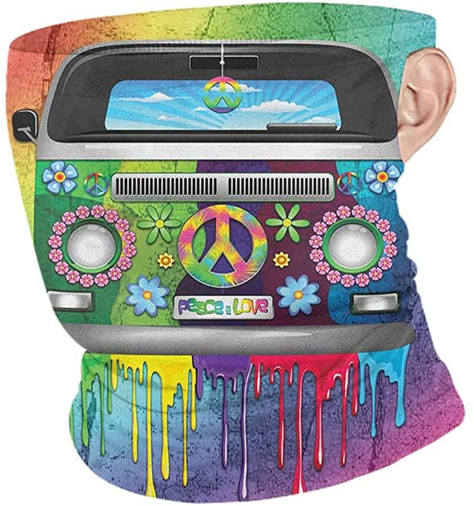 Face Scarf Mask for Men Cooling Groovy Old Style Hippie Van with Dripping Rainbow Paint Mid 60s Youth Revolution Movement Theme,for Dust, Outdoors, Festivals, Sports Multi 10 x 12 Inch