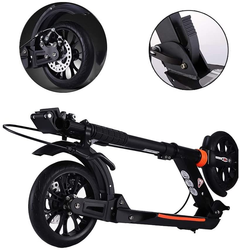 PLLP Foldable Adult Scooter, Disc Brakes/Adjustable Height/2 Big Wheel, Easy to Carry Light Weight, up to 150Kg, Non-Electric