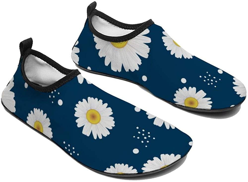 TAMENGI Womens and Mens Kids Water Shoes, Daisy Pattern Quick-Dry Barefoot Shoes, Aqua Socks for Beach Swim Surf Yoga