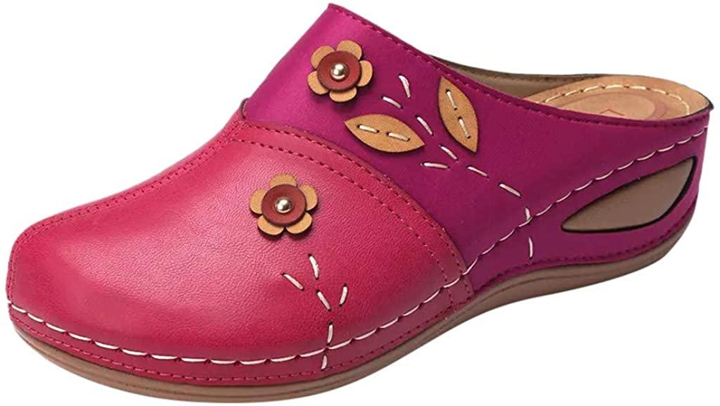 LATINDAY Women's Colorful Backless Slippers Flowers Leather Vintage Boho Platform Wedge Sandals