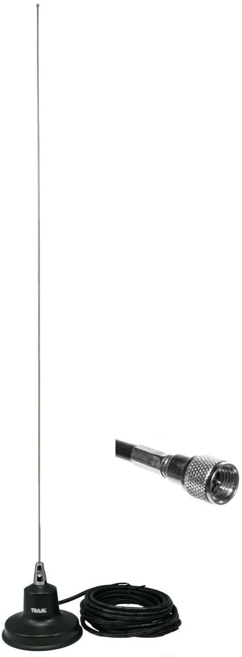 Tram 1154-MUHF Black VHF Land Mobile Magnet 5/8 Wave 140-175 MHz Antenna for Motorola Mobile Radios Kit With Mini UHF Connector