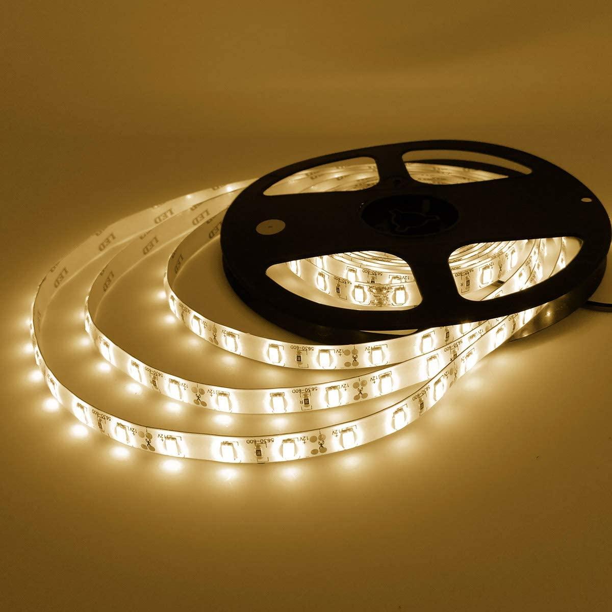 YUNBO LED Strip Light Warm White 3000-3500K, 16.4ft/5M 300 LEDs 12V Waterproof SMD 5630 Flexible LED Tape Light for Bedroom Kitchen Cabinet Lighting Decoration