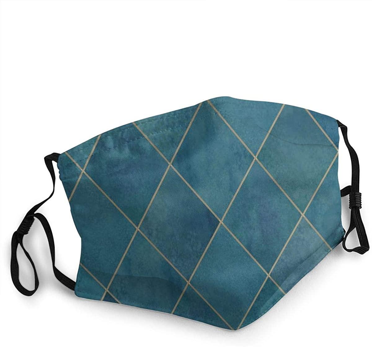 Fashion Protective Face Masks, Argyle Geometric Unisex Dust Mouth Masks, Washable, Reusable Masks