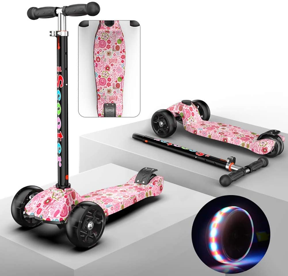 PLLP Child Foldable Scooter-Scooter Kick Kids Kick with Adjustable Handle Grip, Toddler, Age for 2-16Yr Boy/Girl, 50Kg Load, 4 Pu Flash Wheels & Rear Brake,Pink