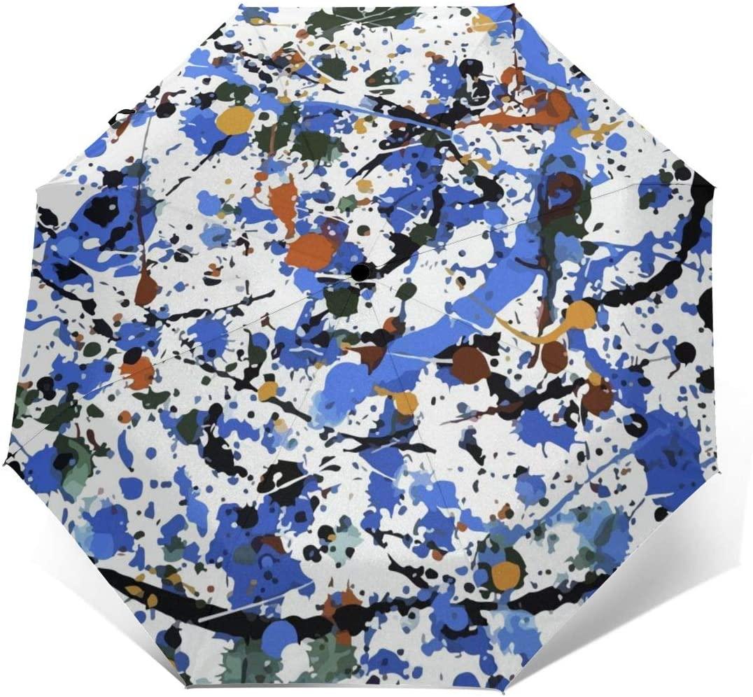 CHAN03 Blue Graffiti Automatic Tri-fold Sunscreen Umbrellas Folding Umbrella