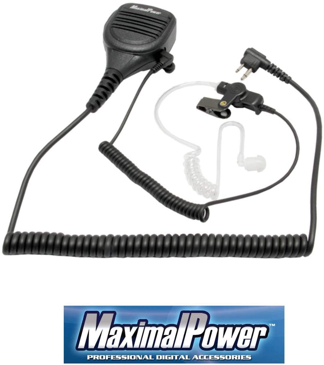 MaximalPower Speaker Mic with Clear Coil Cord Surveillance Earpiece for Motorola HMN9030 GP300 CP200 XLS PR400 EP450 GTX GP300 P1225 CP185 P110 SP50
