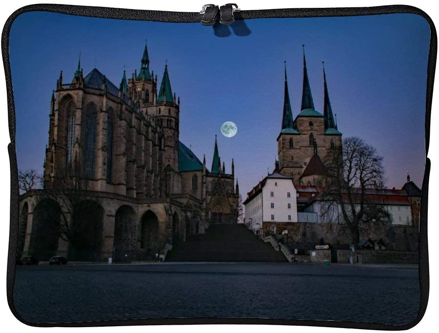 Laptop Sleeve Bag Notebook Computer PC Neoprene Protection Zipper Case Cover Pouch Carrier Holder Erfurt Thuringia Germany Germany Dom Church Moon Night color6 10inch