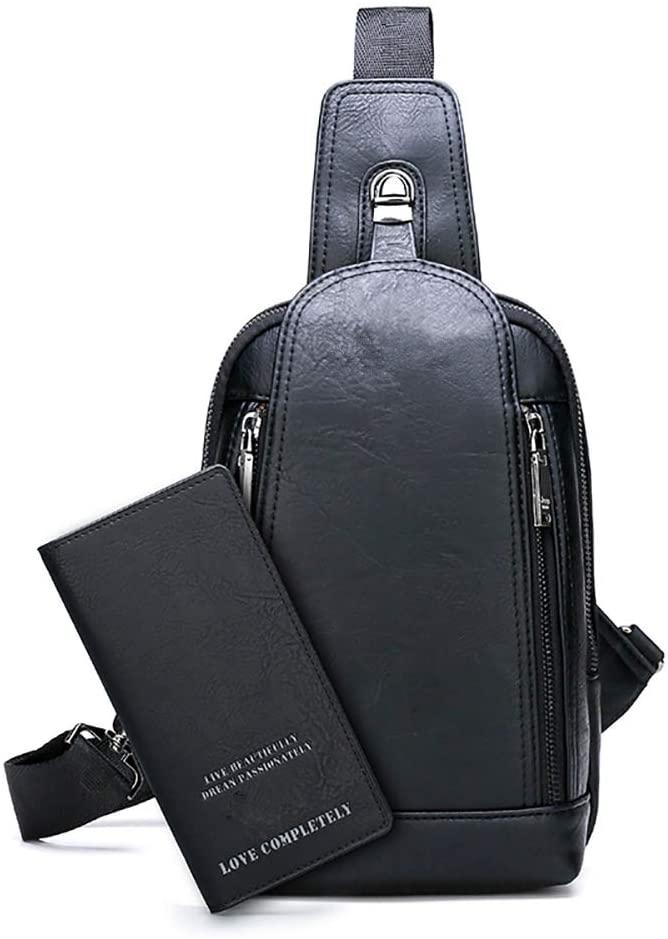 Men's Sling Bag Crossbody Backpack Shoulder Bag for Young Men(Black)