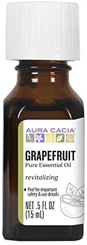 Aura Cacia 100% Pure Grapefruit Essential Oil | GC/MS Tested for Purity | 15 ml (0.5 fl. oz.) | Citrus paradisi