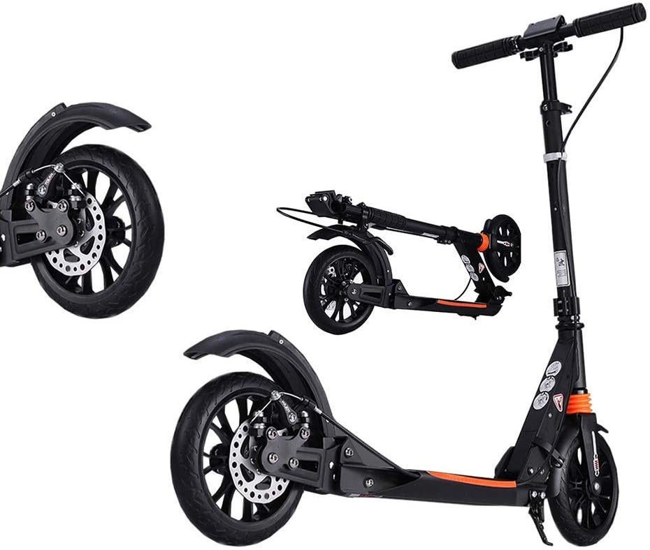 PLLP Adult Kick Scooter Black Disc Brakes, Foldable, Adjustable Height, 2 Big Wheel, up to 100Kg, Non-Electric
