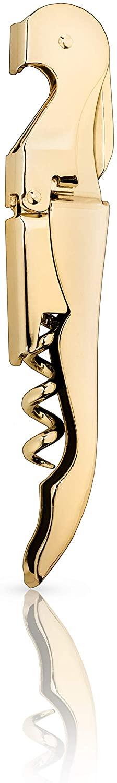 Viski Belmont 24k Gold Plated Signature Corkscrew Wine Bottle Opener and Foil Cutter, 4.75