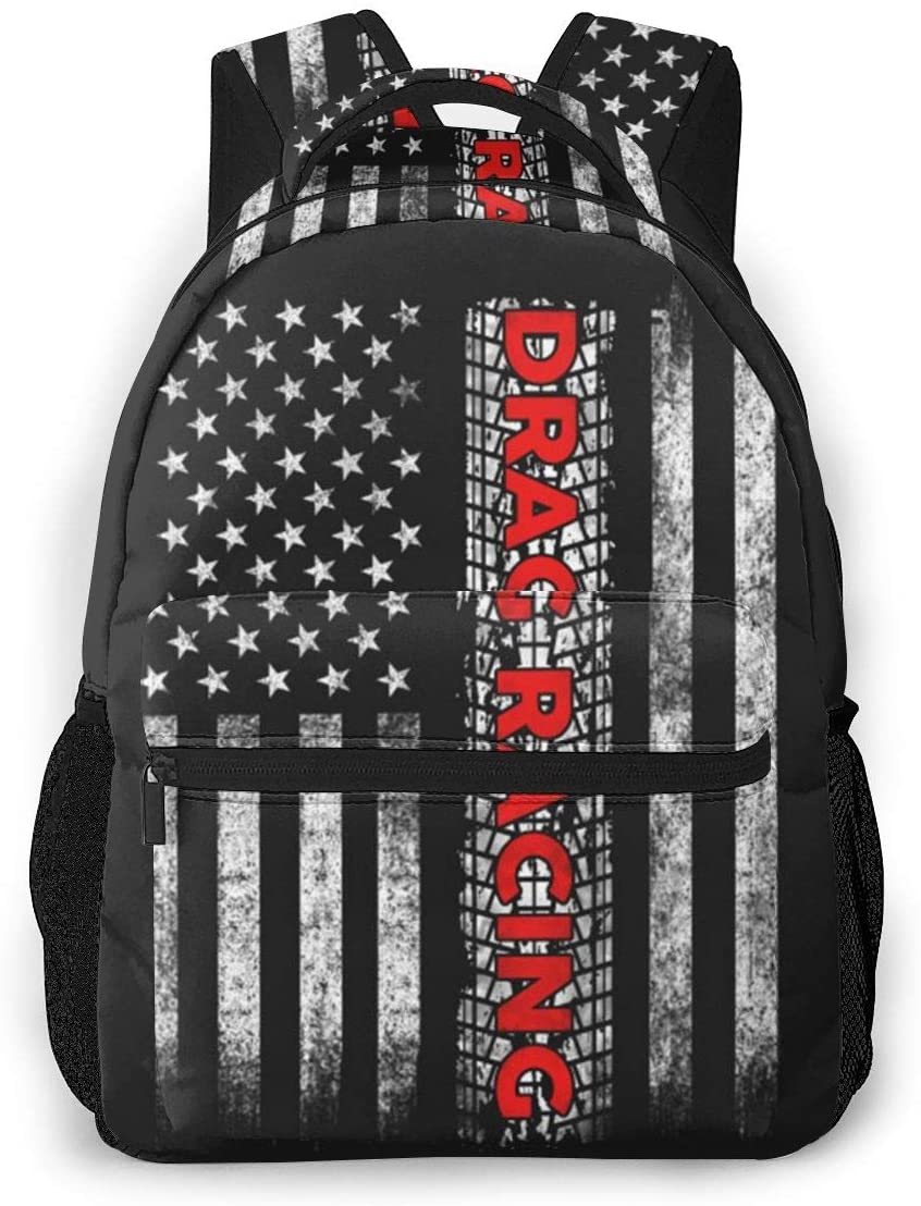 Drag Racing American Flag Casual Shoulders Backpack Lightweight Travel Bags For Unisex