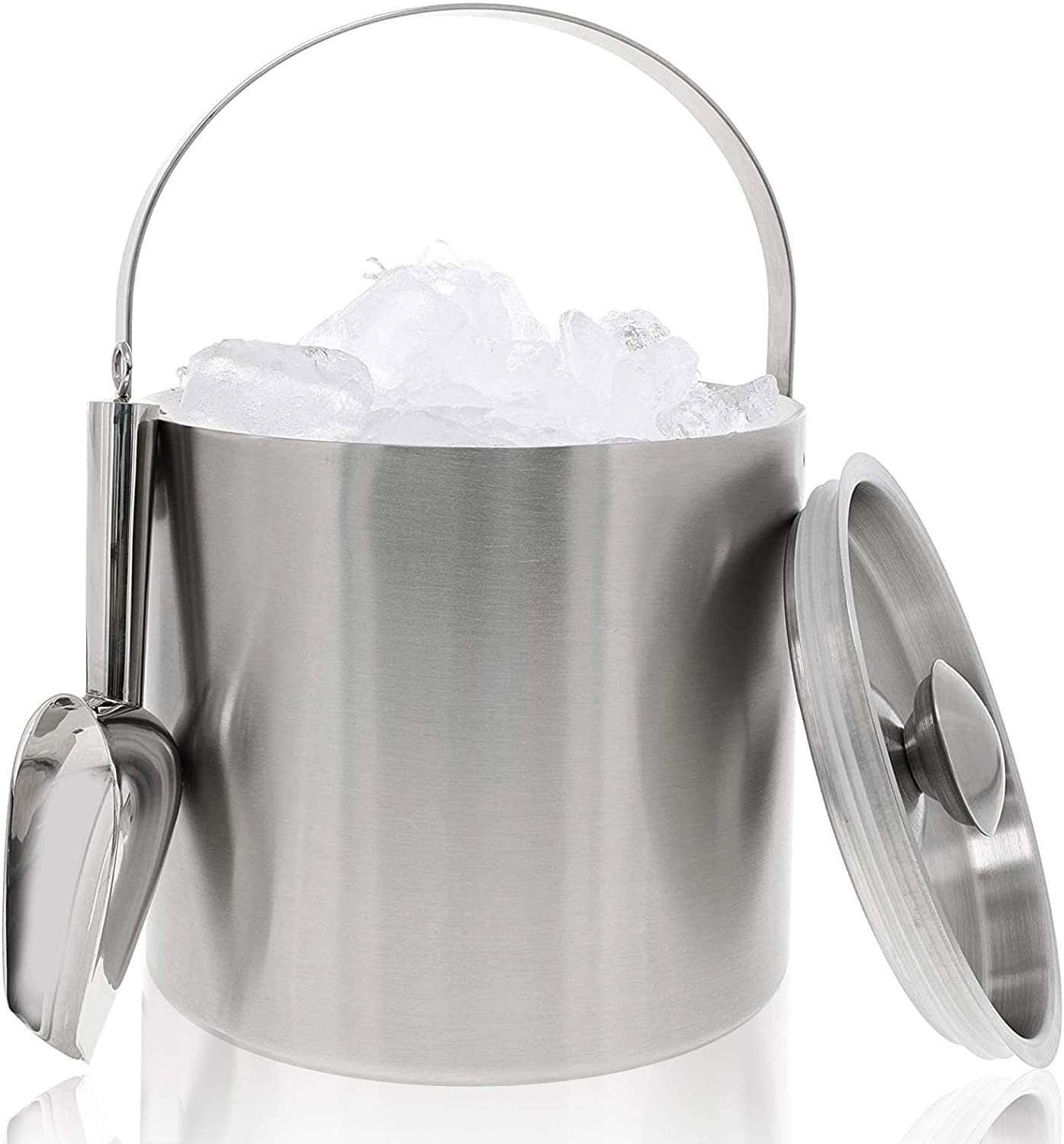 Juvale Insulated Stainless Steel Ice Bucket with Scoop, Lid and Handle (6.6 x 7.5 in)
