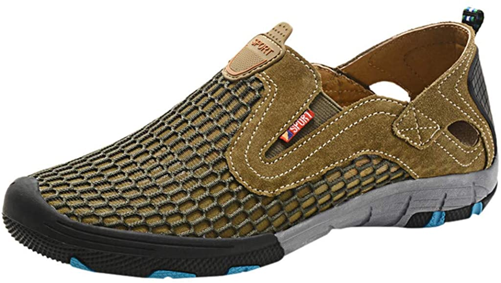 VonVonCo Summer Sneakers for Mens Outdoor River Shoes Mesh Breathable Hiking Shoes Non-Slip Athletics