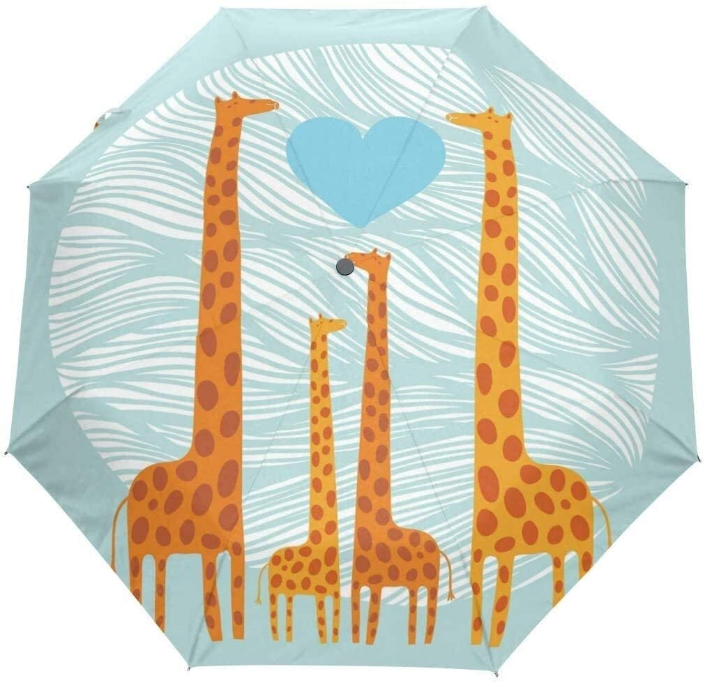 Automatic Umbrellas Valentine Cute Animal Giraffe Anti-Slip Windproof Compact Rain Umbrella for Women Men