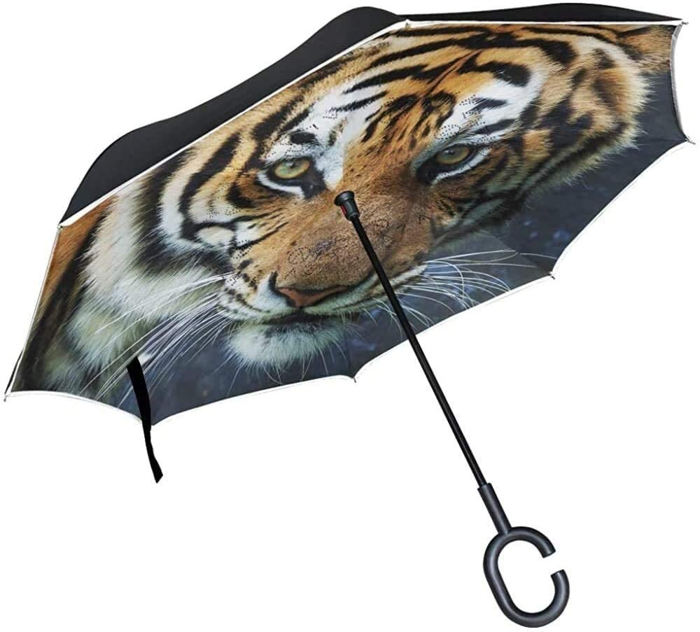 Inverted Umbrella Animal Tiger Double Layer Reverse Umbrella with C-Shaped Handle