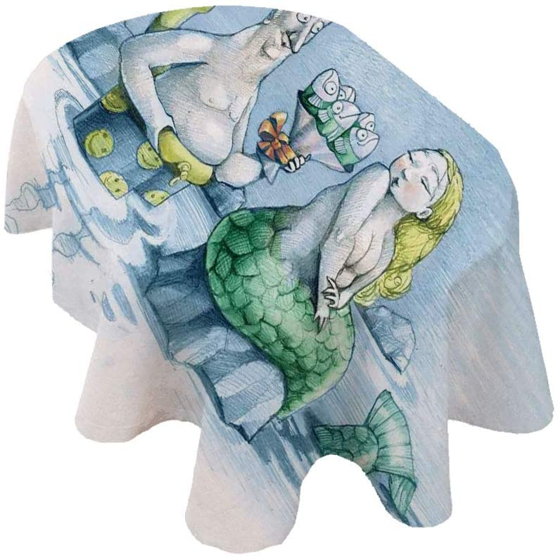 Angel Bags Mermaid Decor Oval Tablecloth,Funny Man Gives a Mischievous Mermaid a Bouquet of Flowers Made from Fish Polyester Table Cover,60x104 Inch,for Spring/Summer/Party/Picnic