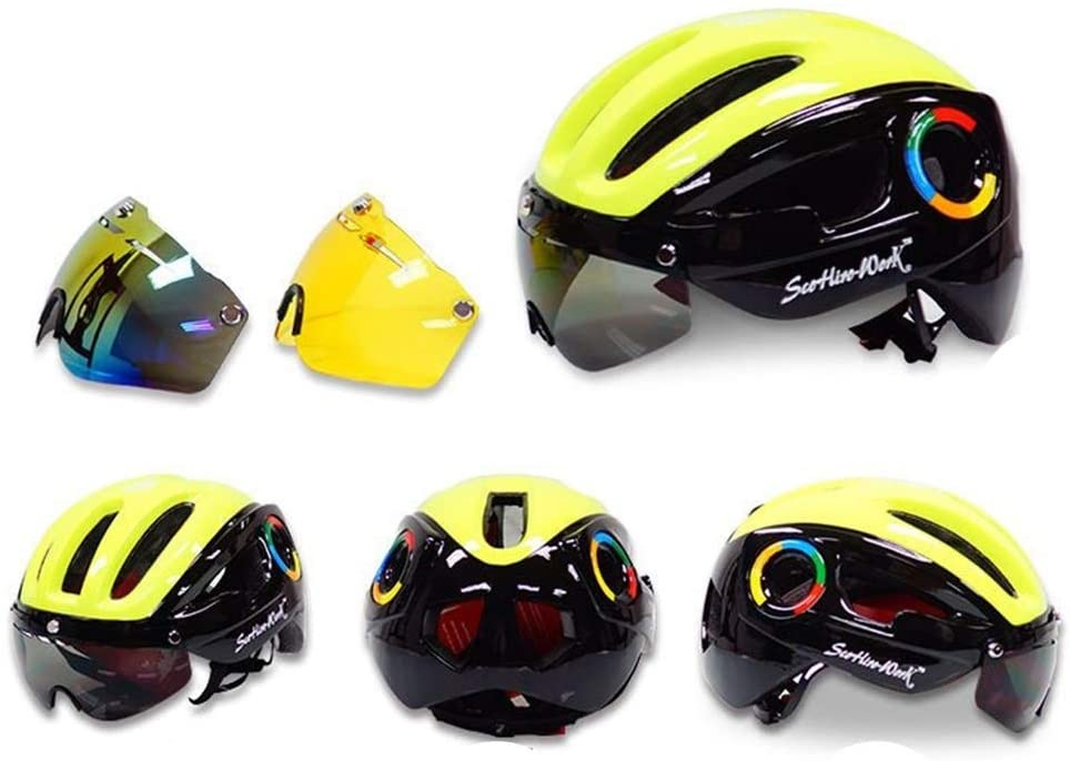 Slowoi Outside Sports Riding Goggles Helmet Bicycle Mountain Road Helmet tri-Color Lens Optional one Colour