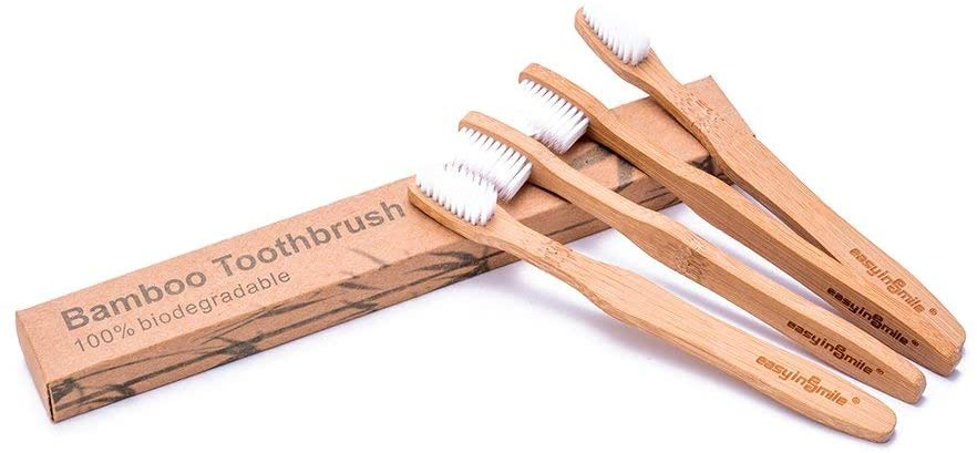 Easyinsmile 4pcs Biodegradable Eco-Friendly Bamboo Toothburshes 100% Plant-Based BPA-Free Soft Bristles Available in Size for Adults and Kids (Kids)