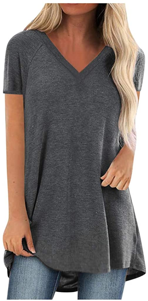Short Sleeve Tunics for Women to Wear with Leggings Oversized V Neck Solid T Shirt Tops Blouse Tee Plus Size. S-5XL