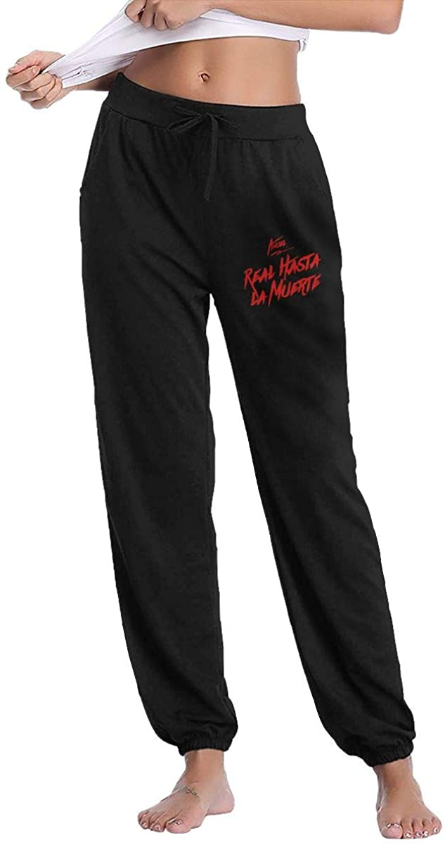 Anuel AA Real Hasta la Muerte Logo Womens Active Yoga Lounge Sweat Pants Sports Pants Warm Pants with Pockets