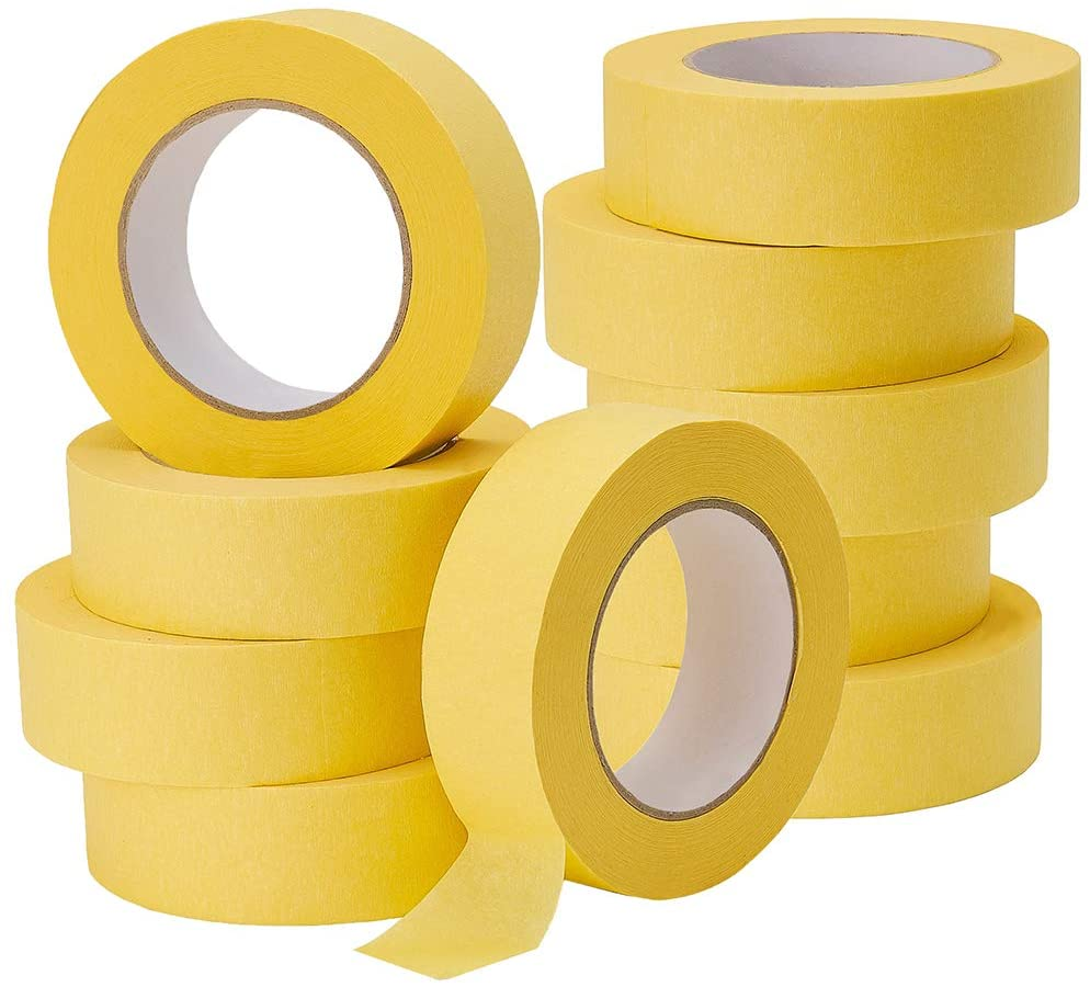 Lichamp 10-Pack Automotive Refinish Masking Tape Yellow 36mm x 55m, Cars Vehicles Auto Body Paint Tape, Automotive Painters Tape Bulk Set 1.4-inch x 180-foot x 10 Rolls (600 Total Yards)